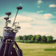 reduces stress - golf clubs with a blue sky with white clouds