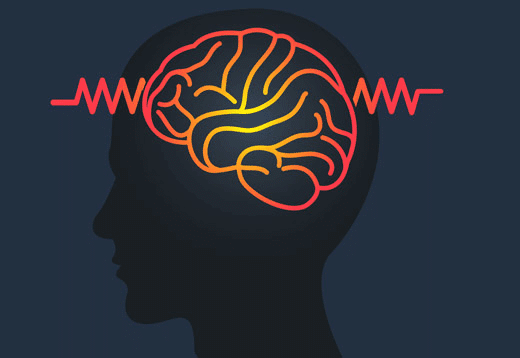 an illustration of a head and brain with electrical currents coming out